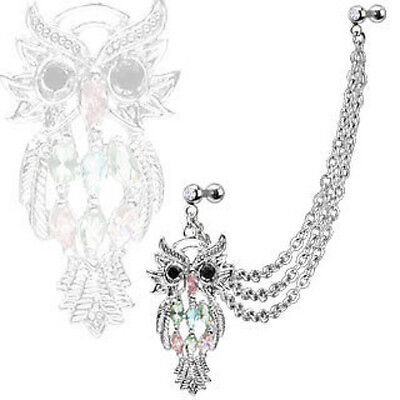 Steel Chain Linked Marquise Gemmed Owl with Cartilage/Tragus/Helix Barbell