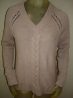 Old Navy V Neck Cable Knit Lt Brown Sweater Womens M