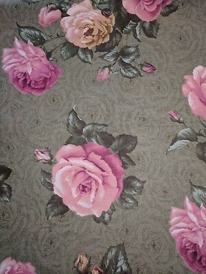 sold BTY Peony flower lace on blue cotton fabric 44/'w