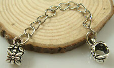 Fashion Silver Flower Clip Safety Chain Bead Fit European Charm Bracelet a1bse