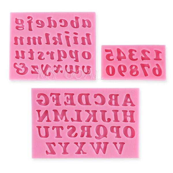 3D Silicone Alphabet Letter Number Fondant Mould Cake Topper Mold Decor Tool DIY