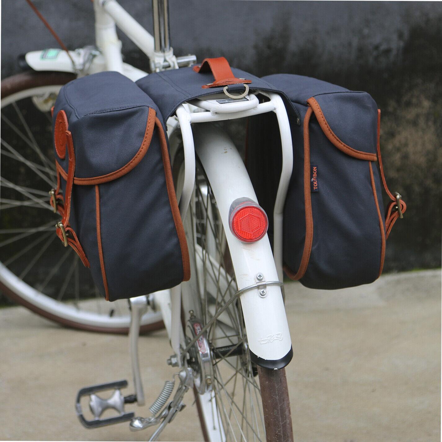 Tourbon Bike Double Pannier Cycling Trunk Bag Rack Market Bag Rollup-US Delivery
