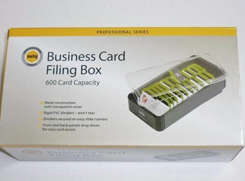 metal box PVC lid PVC dividers 87037 Marbig Business Card Filing Box 600 cap