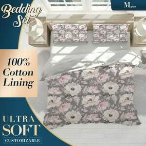 Flowers-Pattern-Floral-Pink-Doona-Cover-Sets-with-2x-Matching-Pillowcases