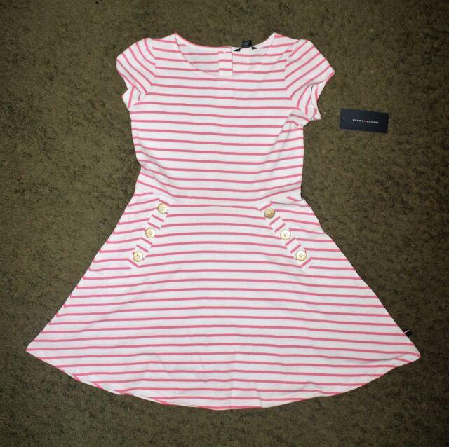 Tommy Hilfiger Girls Pink   White Striped Short Sleeve Dress - Size M(8- fc6af0d1b7bd