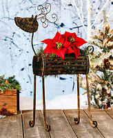 Metal Holiday Christmas Reindeer Planter Over 2 Feet Tall