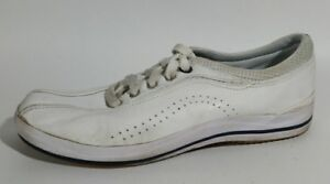 keds white leather sport casual sneakers shoes womens 7 m
