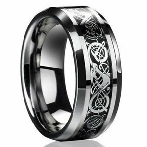 New-2019-Mens-Silver-Dragon-Titanium-Stainless-Steel-Wedding-Band-Rings
