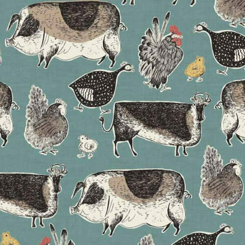 100/% Cotton Fabric Makower Farm Home Grown Animals Pig Cow Chicken