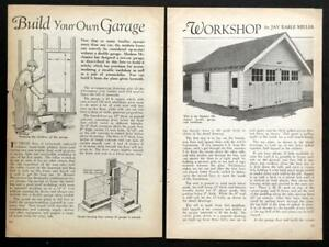 Details about Mission era 2 Car Garage -20'x20' 1930 HowTo build PLANS