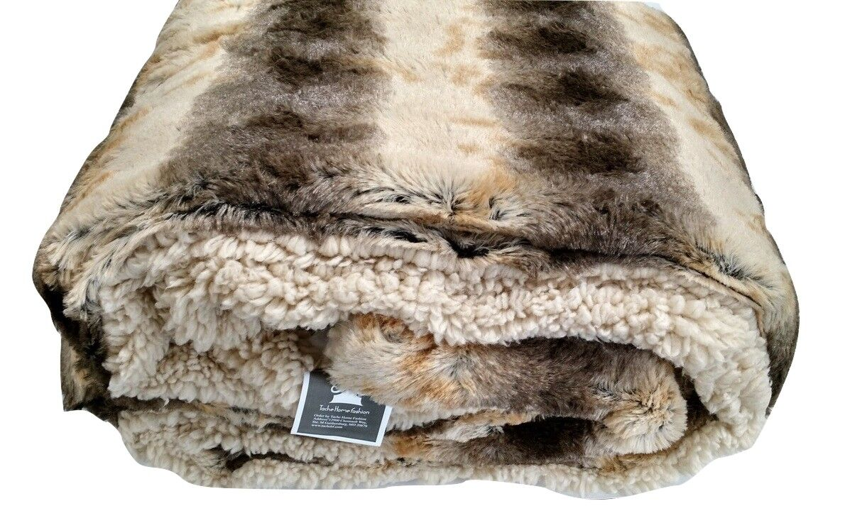 Tache Striped Safari Faux Fur braun Super Soft Elegant Luxury Throw Blanket Twin