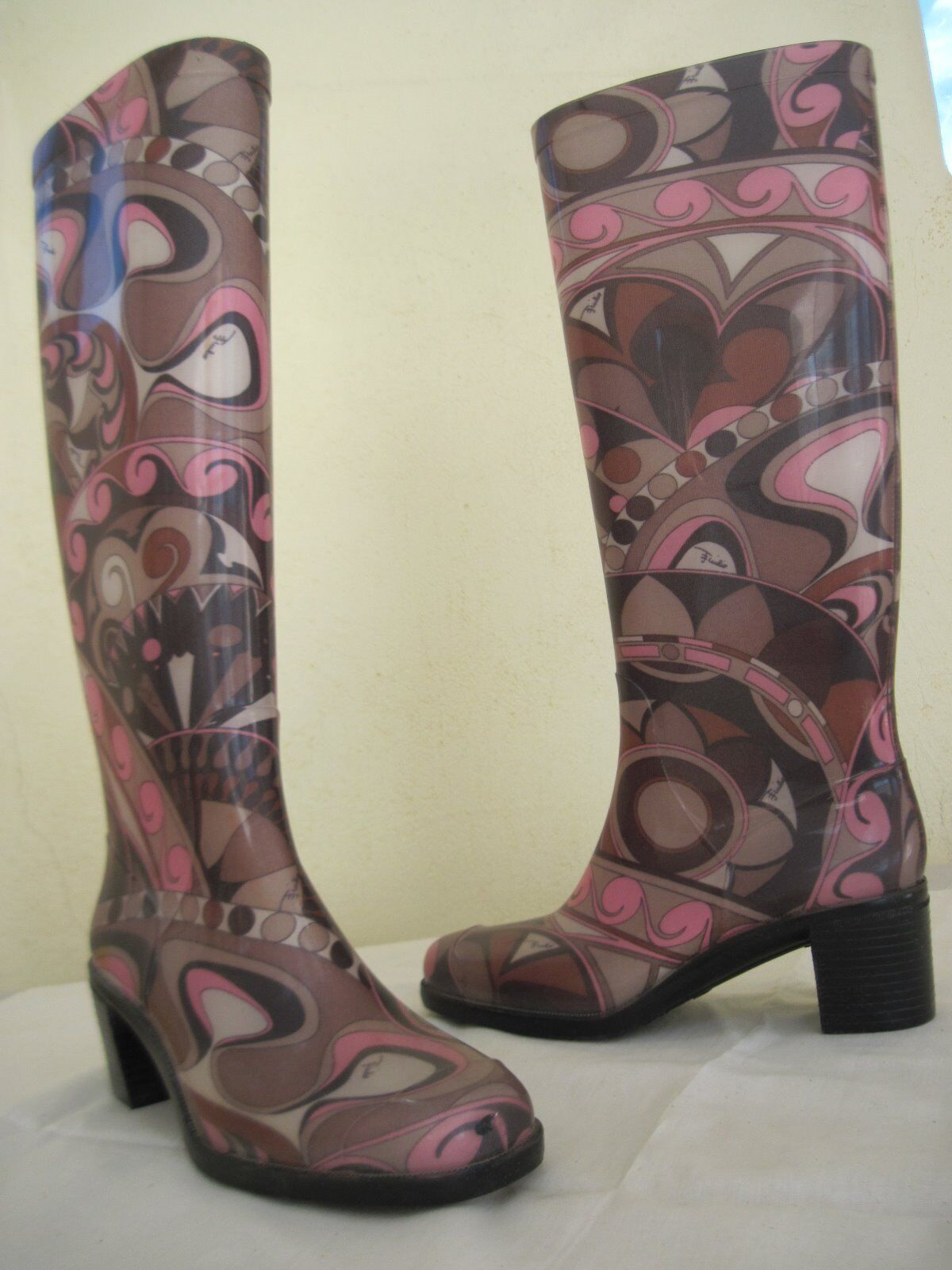 Women's Emilio Pucci Rubber Knee High Boots Size 36 (5.5M)    Worn once