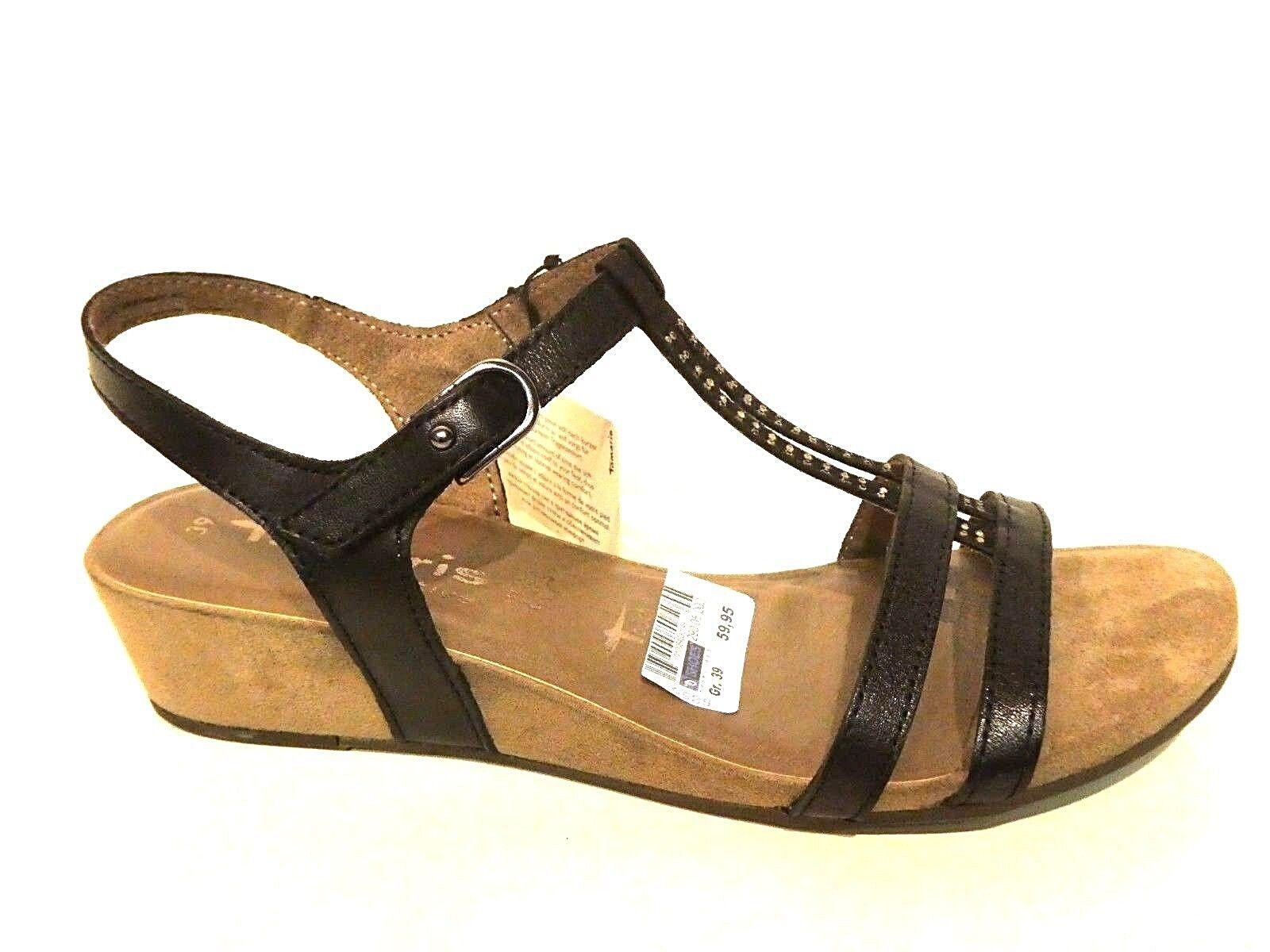 Tamaris Damen Schuhe Sandale Sandaleetten Keilabsatz elegant schwarz Leder