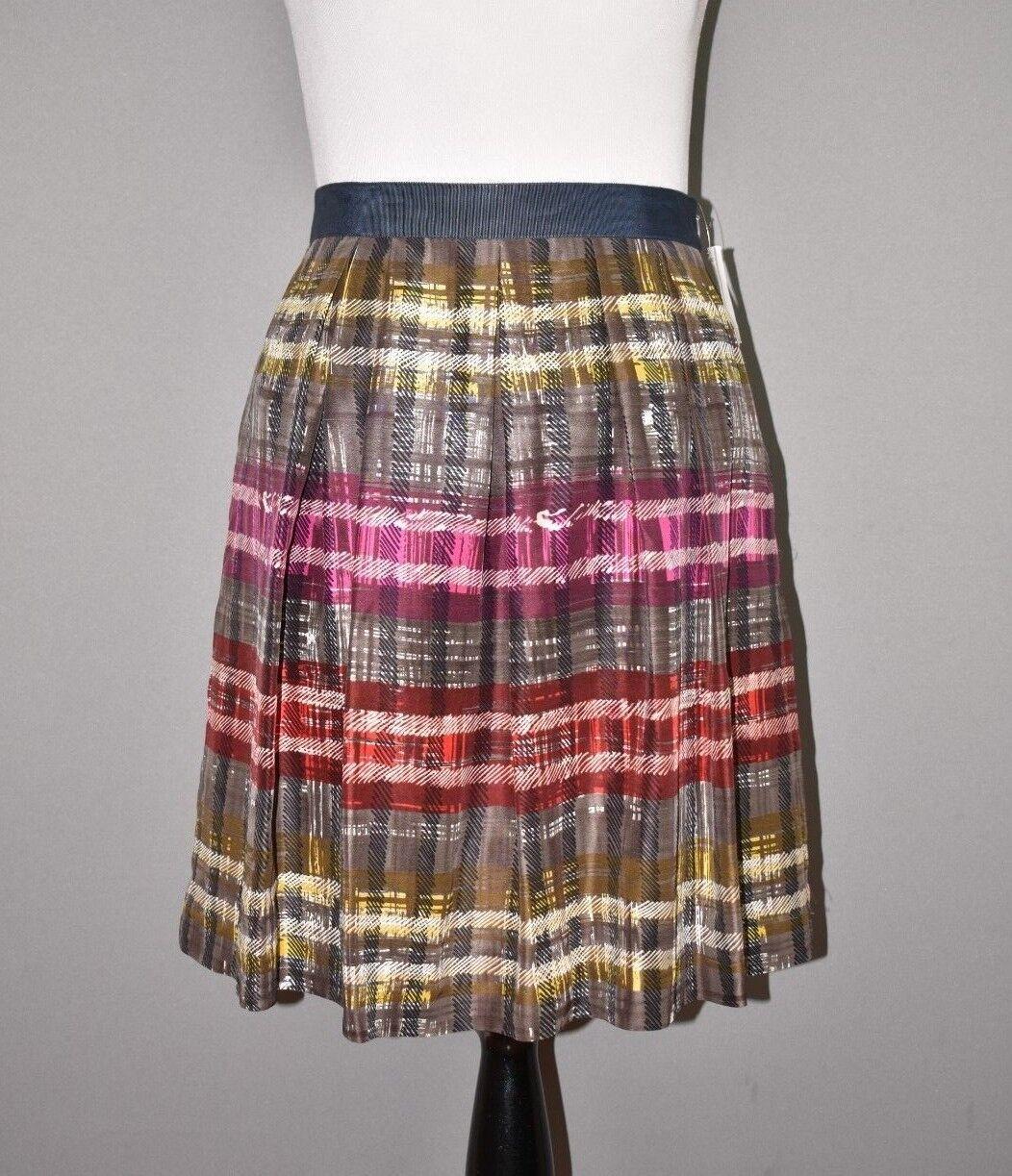 TRINA TURK NEW  268 Tidepool Timber Frame Plaid Silk Skirt Size 10