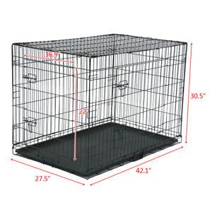 42-034-Pet-Kennel-Cat-Dog-Folding-Steel-Crate-Animal-Playpen-Wire-Metal-New