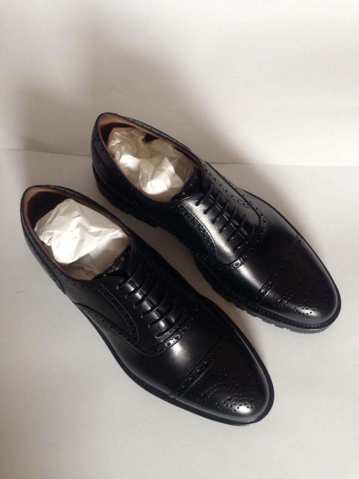 NIB Men Romano Martegani Cap Toe Oxford scarpe 9 nero Leather Stacked Heel