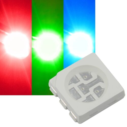 50x RGB SMD LEDs 5050 / PLCC6, 3-Chip FULLCOLOR rot-grün-blau HIGHPOWER SMDs