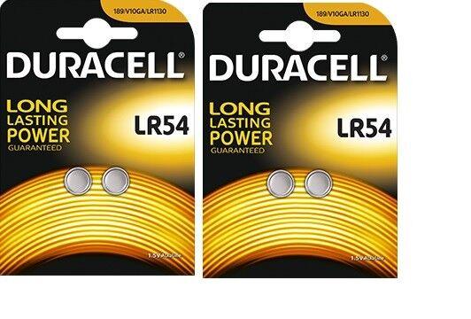 4 piles bouton LR54 Duracell Pile AG10 alcaline J89/KA54/LR1130 Validité 2022