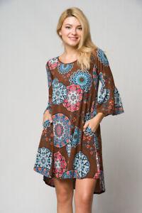 New-USA-Boho-Peasant-Colorful-Mandala-Print-Western-Bell-Sleeve-Pocket-Dress-S-L