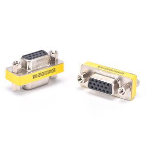 2x 15Pin VGA Female to Female Plug Coupler gender Changer Converter Adapter HK