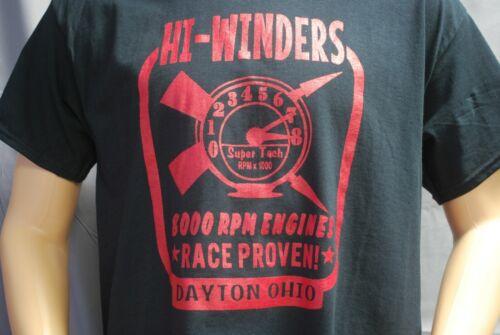 HI-WINDERS RACE ENGINES RETRO T-SHIRT OHIO RAT ROD GASSER TACHOMETER SPEED SHOP