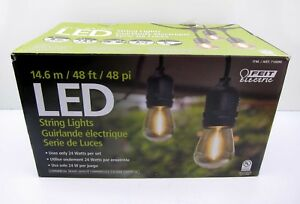 Details About Feit Outdoor Weatherproof String Light Set 48 Ft 24 Sockets W 26 Led Bulbs