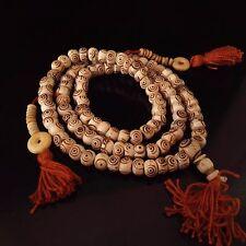 "Tibetan 108 Yak Bone Eye Yoga Meditation Prayer Beads 3 Tassel Mala Necklace 24"""