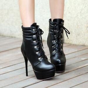 211c59ddea1 Fashion Womens Sexy High Heels Lace Up Platform High Stiletto Heel ...