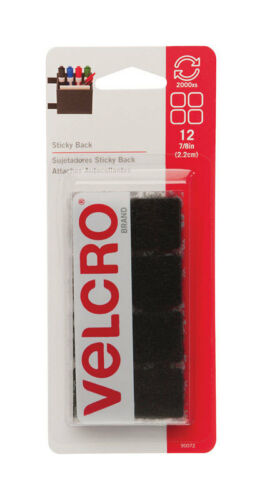 "Velcro Hook /& Loop Fastener 7//8/"" x 7//8/"" Black 12pk Square Sticky Back 90072 New"