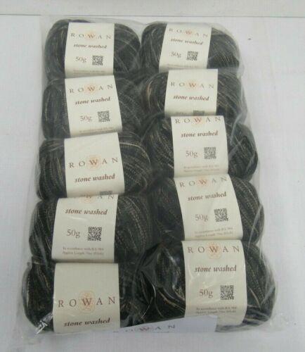 """BNWT Rowan Stonewashed /""""Dark Aged/"""" 100/% Cotton Yarn 10 x 50g Balls WOOL FUR"""