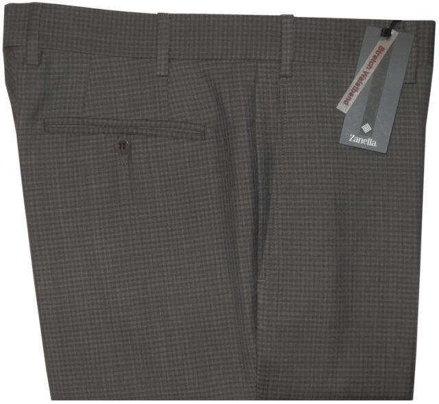 $425 NEW ZANELLA CURTIS GRAY TONE CHECK SUPER 120'S WOOL SLIM FIT DRESS PANTS 34