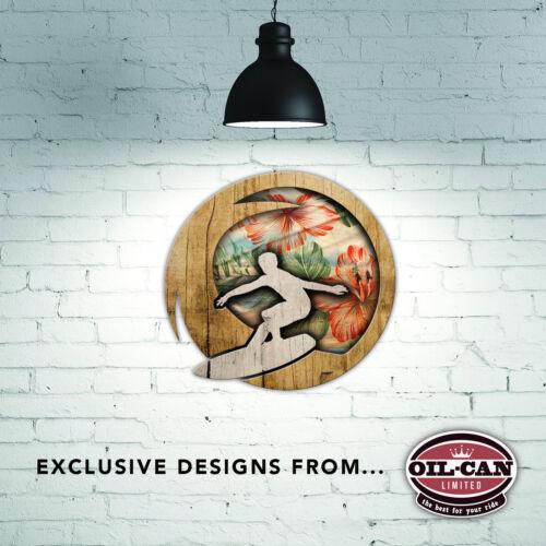 260 x 260mm métal signe surfeur hibiscus bois flotté design de oilcan