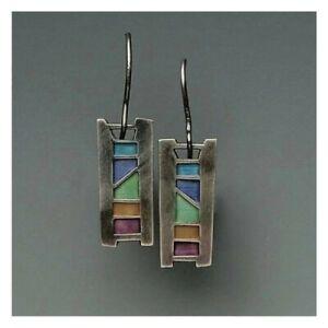 Vintage-925-Silver-Multicolor-Gemstone-Women-Earrings-Ear-Hook-Dangle-Drop