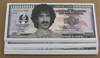 50 FRANK ZAPPA MONEY FAKE WHOLESALE LOT NOVELTY MILLION DOLLAR BILL  FREE SHIP