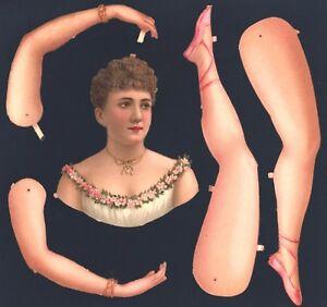 Uralte-Teile-zum-Basteln-einer-Ballerina-L-amp-B-2686-DIE-CUT-PAPER-DOLL
