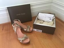 Anne Klein Powder Light Gold Metallic Suede Cork Platform Wedge Sandals