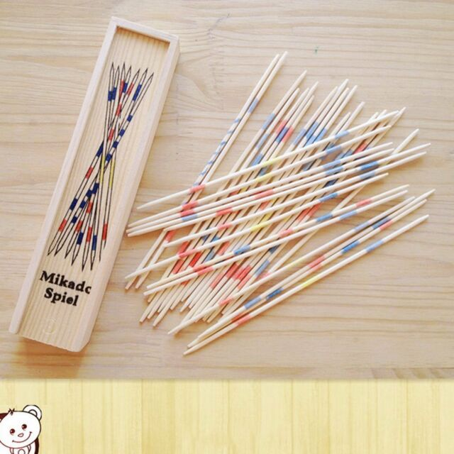 Baby Educational Wooden Traditional Mikado Spiel Pick Up Sticks With Box Game pt