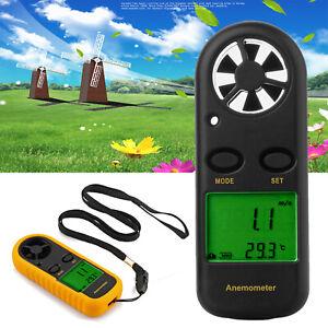 Mini LCD Wind Speed Gauge Air Velocity Meter Digital Anemometer NTC Thermometer
