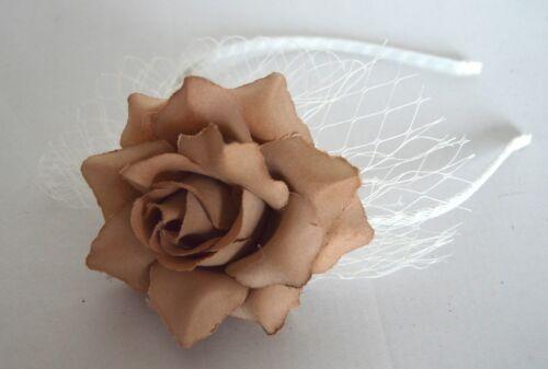 NEW Large brown fabric rose netting aliceband fascinator wedding races prom