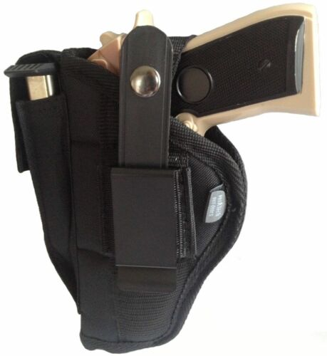 Gun Holster fits Glock 42 Pro-Tech OWB Black Nylon Ambidextrous Belt on or Clip