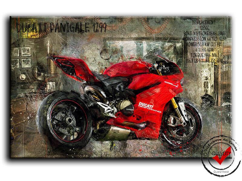 Ducati Panigale 1299 Bild Leinwand Motorrad Garage Bar Wandbild Poster Deko Kunst1