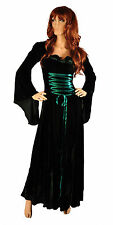 Maid Marian Renaissance Medieval Gown Dress Hooded GREEN Costume Tudor S M