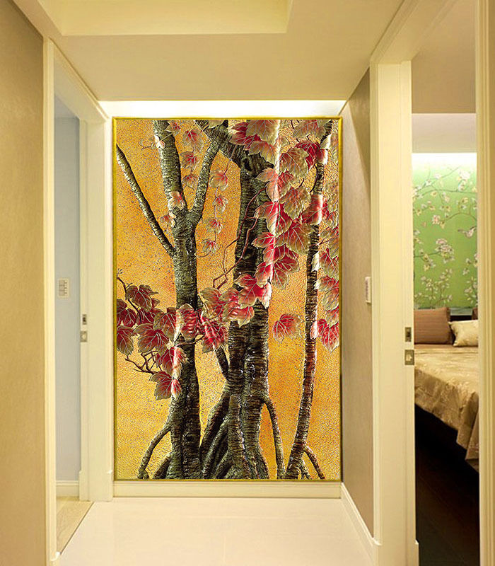 3D Maple Leaf Trunk Paper Wall Print Wall Decal Wall Deco Indoor Murals