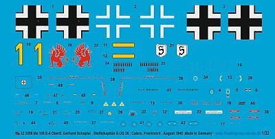 Gerhard Schopfel Peddinghaus-Decals 1//32 3558  Bf 109 E-4 Oberlt Staffelkapitä