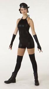 NWOT-black-foil-shorty-unitard-small-adult-w-spats-mitts-amp-hat-dance-costume