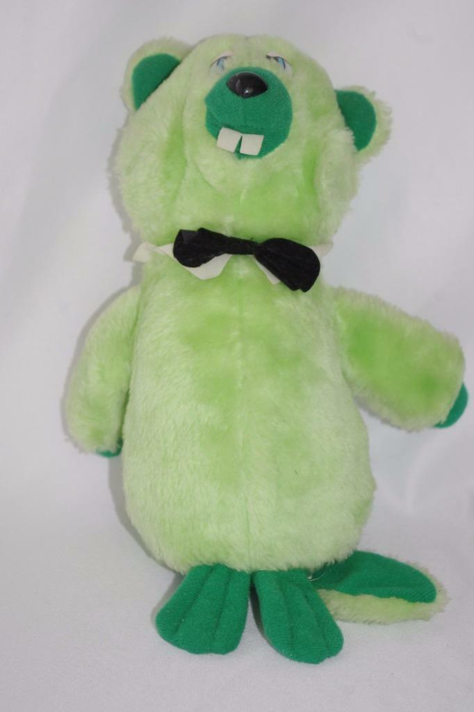Vintage Dan Brechner Beaver Plush verde Stuffed Animal