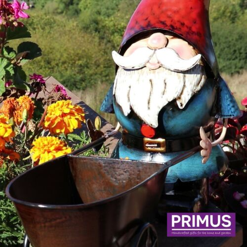 Primus Handpainted Metal Gnome /& Wheelbarrow Planter Garden Ornament Gift Idea