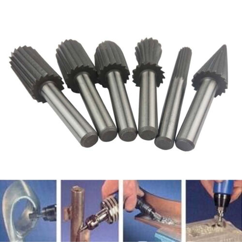 6pcs 6mm Rotary Burr Set HSS Rotary Files For Metal Plastic Wood Grinding 118g