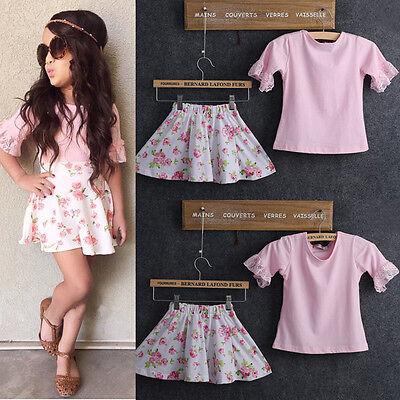 2016 Children Baby Girls T-Shirt Flower Skirt Outfits 2pcs Set Summer Dress 1-6Y
