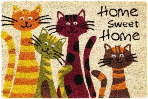 Fußmatte Kokosmatte Indoor bedruckt 4 Katzen /& Home sweet Home 1 Stk 40x60 cm